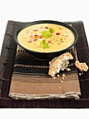Sweetcorn soup with diced peppers