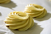Unbaked Viennese whirls (sweet biscuits, UK)