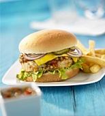 Chickenburger mit Salsa