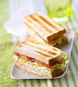 Soft cheese and salad sandwich