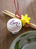 Asian place-setting with egg as place card