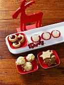 Hussar cookies, coconut balls, marzipan macaroons, star biscuits