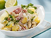 Rice salad with ham and pineapple