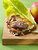 Liver and apple open sandwich