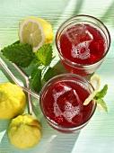 Raspberry and lemon iced tea