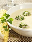 Potato and sweetcorn soup with sausagemeat dumplings
