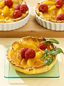 Apricot tarts with fresh raspberries