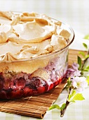 Cherry pudding with meringue topping