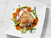 Pork escalope with ham & cheese stuffing & green asparagus