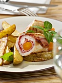 Turkey roll with potato wedges