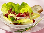 Green salad with raspberry dressing