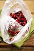 Dried cranberries in a plastic bag