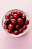 Fresh cranberries in a small glass dish