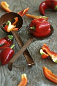 Peppers with ladle and skimmer