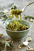 Bowl of cooked spinach pasta