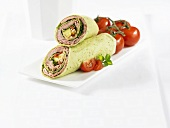 Wrap with roast beef and vegetable filling