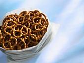 Salted pretzels in a plastic bag