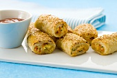 Puff pastry rolls with mince and vegetable filling