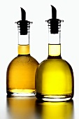 Olive oil and white wine vinegar in bottles