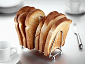 Slices of toast in a toast rack