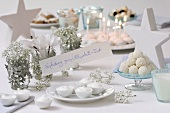 Table laid for a 'Snowball party'