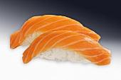 Two salmon nigiri sushi