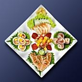 Sushi platter with fruit