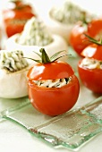 Tomatoes & mushrooms stuffed with fresh goat's cheese & herbs