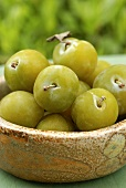 Greengages in a bowl