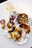 Garlic baked in aluminium foil