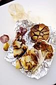 Garlic baked in aluminium foil