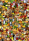 Many different foods and dishes