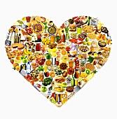 Herz aus bunt gemischten Lebensmitteln und Gerichten