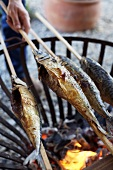 Turning Steckerlfisch (skewered fish) on barbecue