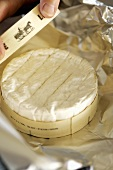 Camembert in wooden box being prepared for melting