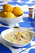 Potato and salmon soup