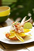 Banana chips with lobster tartare