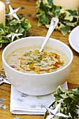 Chestnut soup with chilli oil