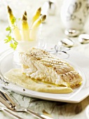 Steamed turbot with white asparagus