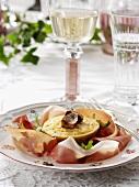 Mushroom tart with ham