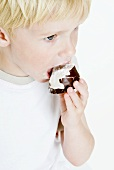Small boy biting into a chocolate-covered marshmallow wafer