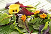 Flower salad on a banana leaf