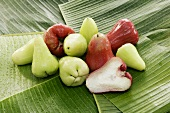 Red and green Java apples on banana leaves