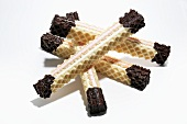 Chocolate-dipped filled wafers