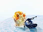 Salmon and potato salad with trout caviar