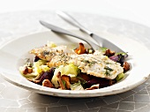 Haddock fillet on autumn salad