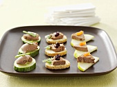 Appetisers with chicken liver pâté