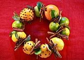 Wreath of studded fruit and spices