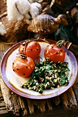 Studded tomatoes with spinach