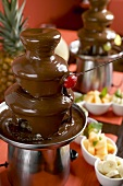 Chocolate fountain with fruit for dipping